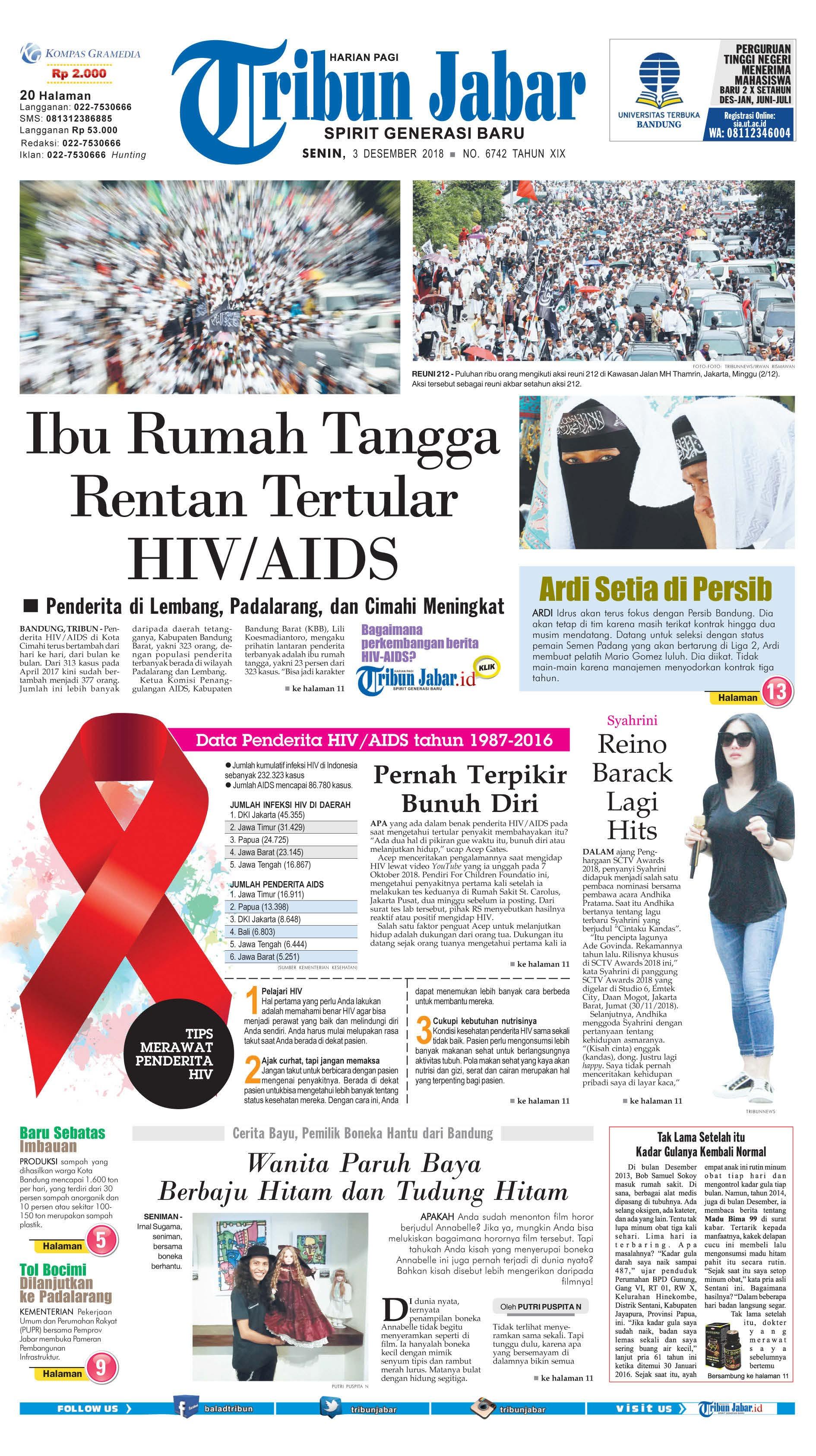 Tribun Jabar Newspaper 03 December 2018 Gramedia Digital