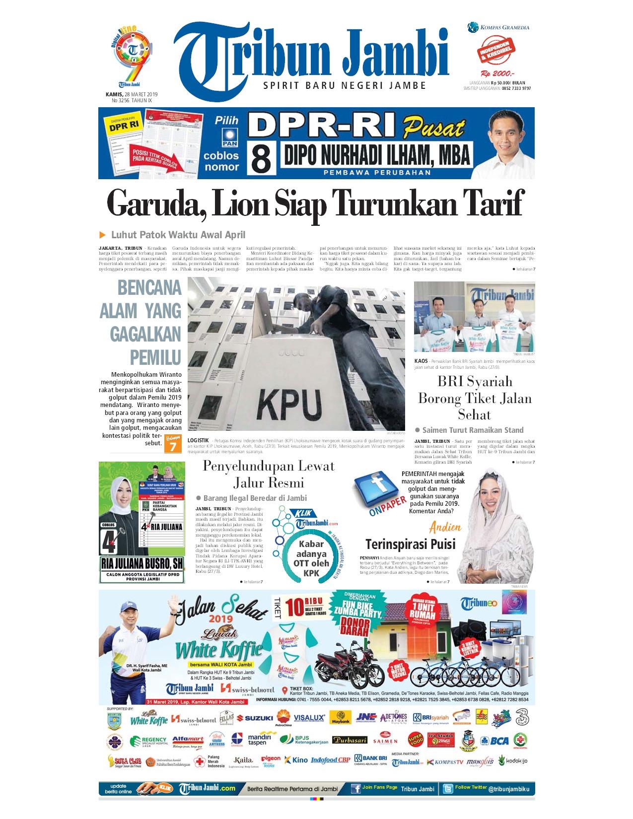 Tribun Jambi Newspaper 28 March 2019 Gramedia Digital