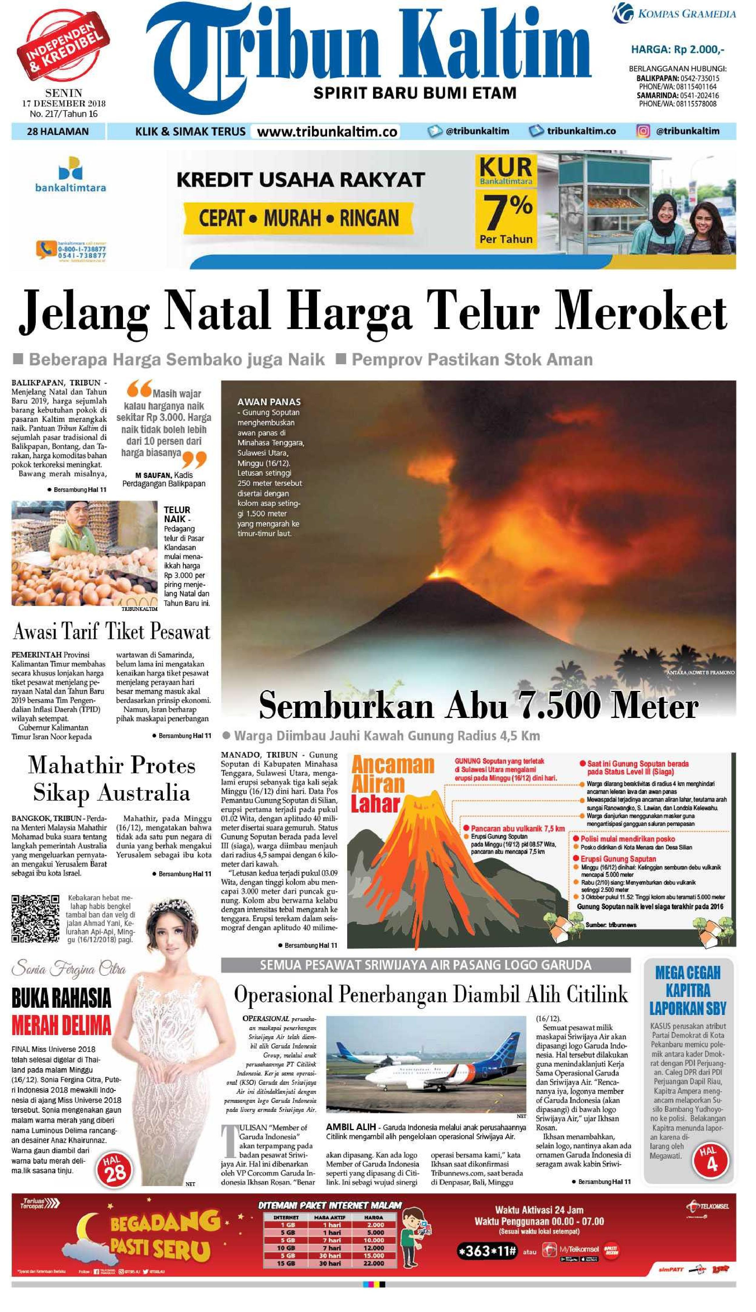 Jual Koran Tribun Kaltim 17 Desember 2018 Gramedia Digital Indonesia