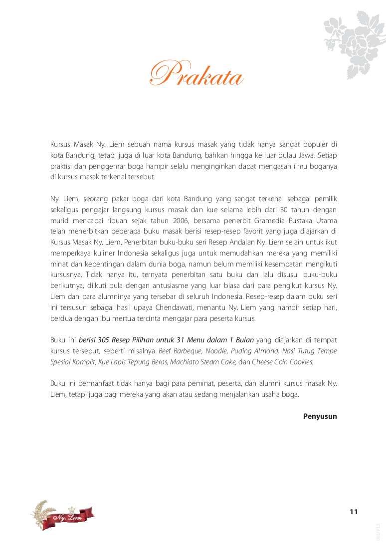 Jual Buku Menu 1 Bulan 305 Resep Pilihan Ny Liem Oleh Chendhawati Gramedia Digital Indonesia