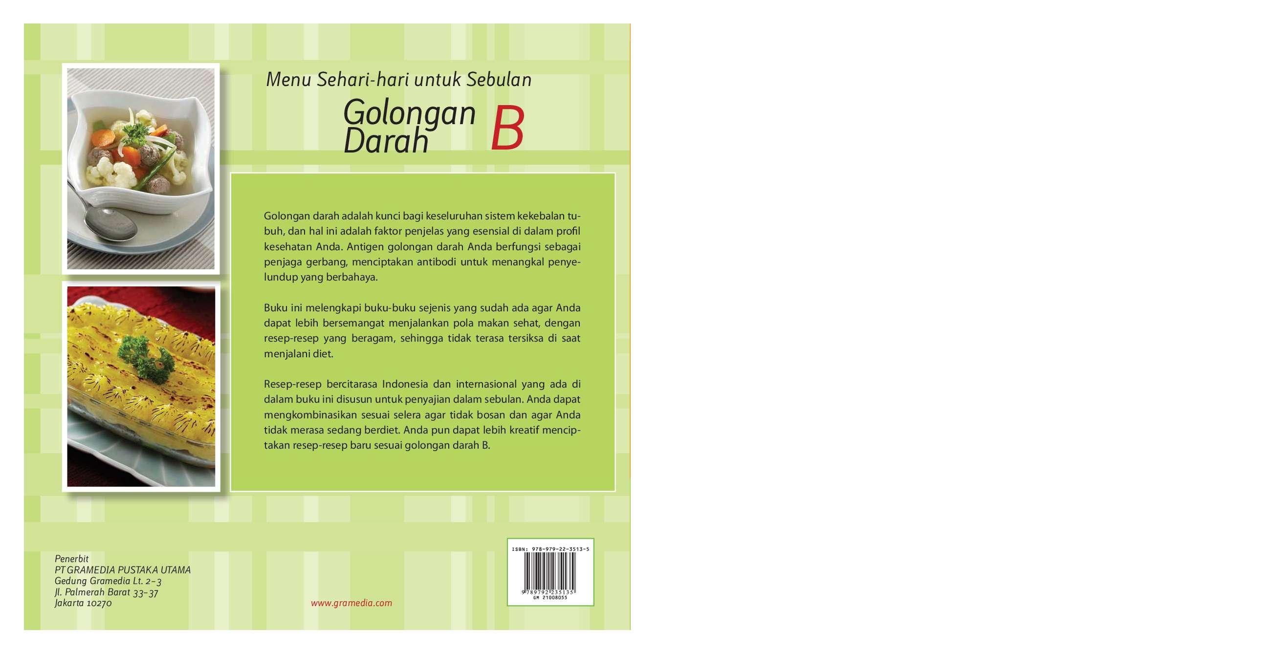 Menu Sehari Hari Untuk Sebulan Golongan Darah B Book By Ambarini Dr