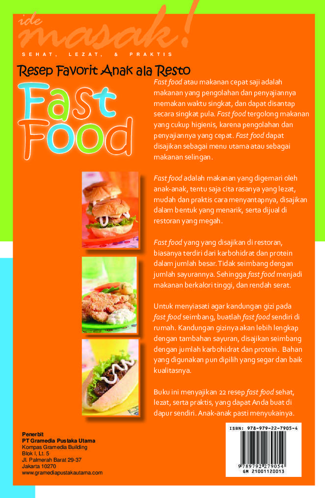 Resep Favorit Anak Ala Resto Fast Food Book By Ide Masak
