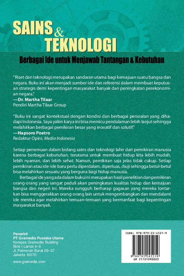 Jual Buku Sains Teknologi Berbagai Ide Untuk Menjawab Tantangan Kebutuhan Oleh Ristek Gramedia Digital Indonesia
