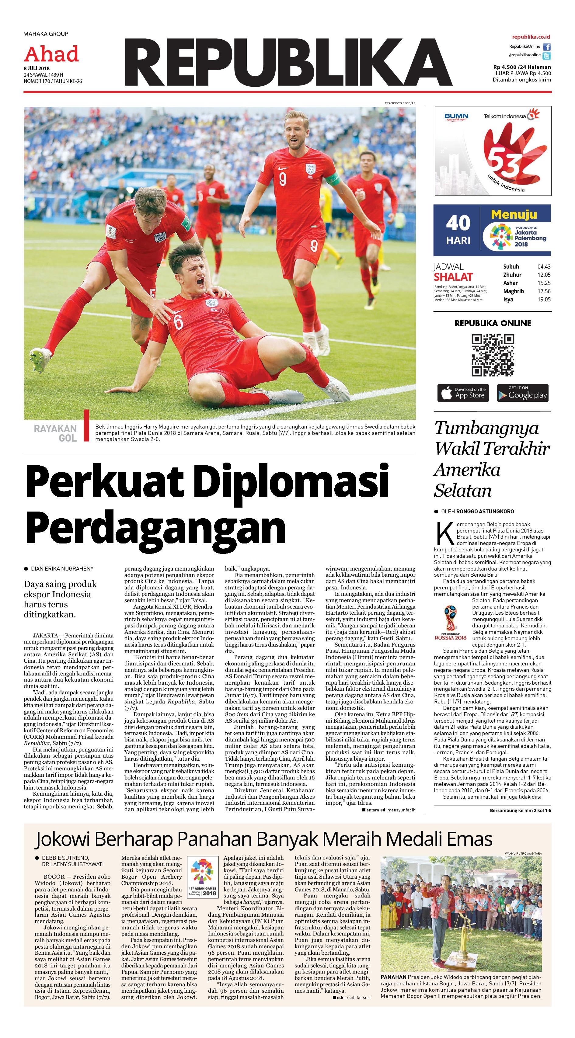 Koran Republika Newspaper 08 July 2018 - Gramedia Digital