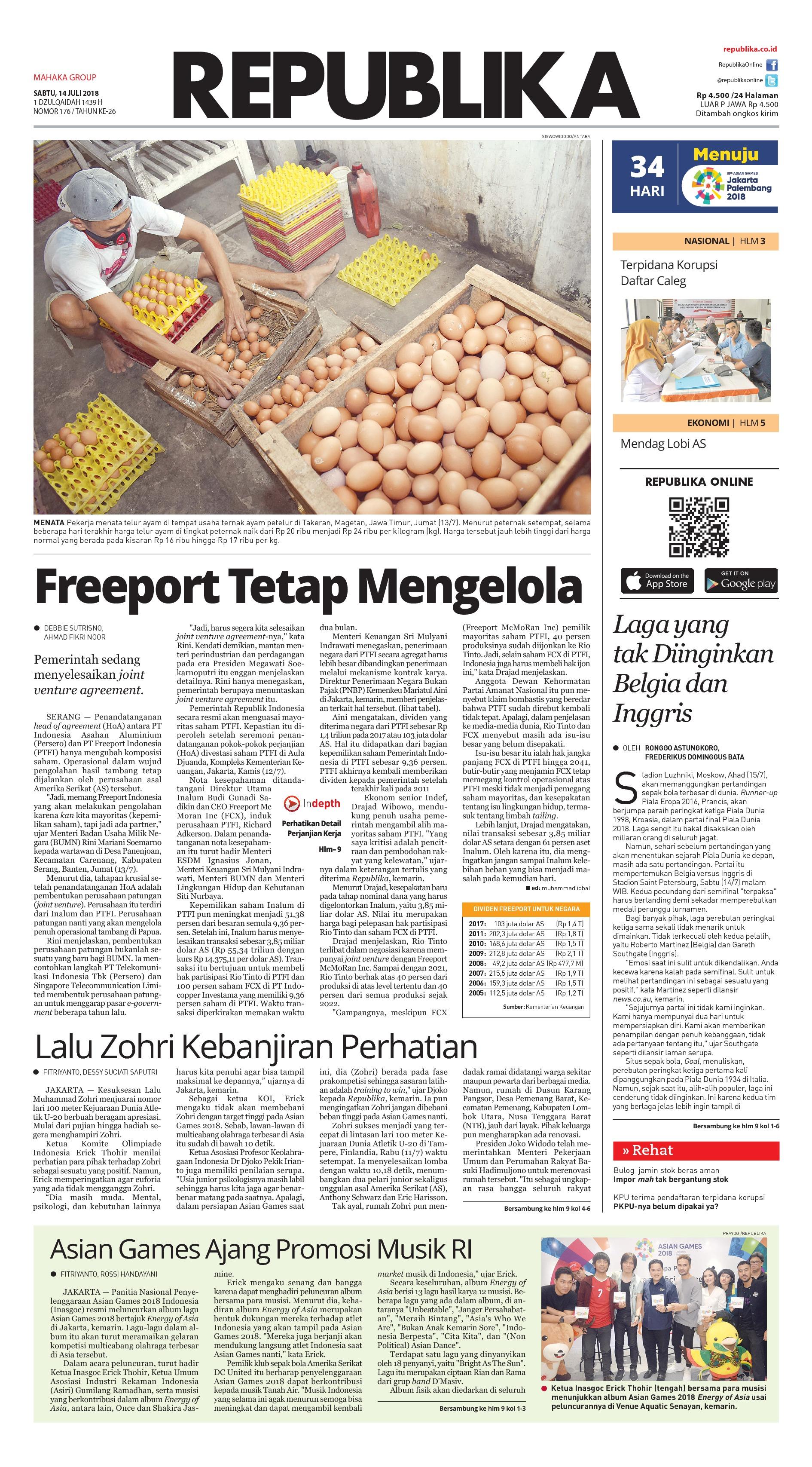 Koran Republika Newspaper 14 July 2018 Gramedia Digital