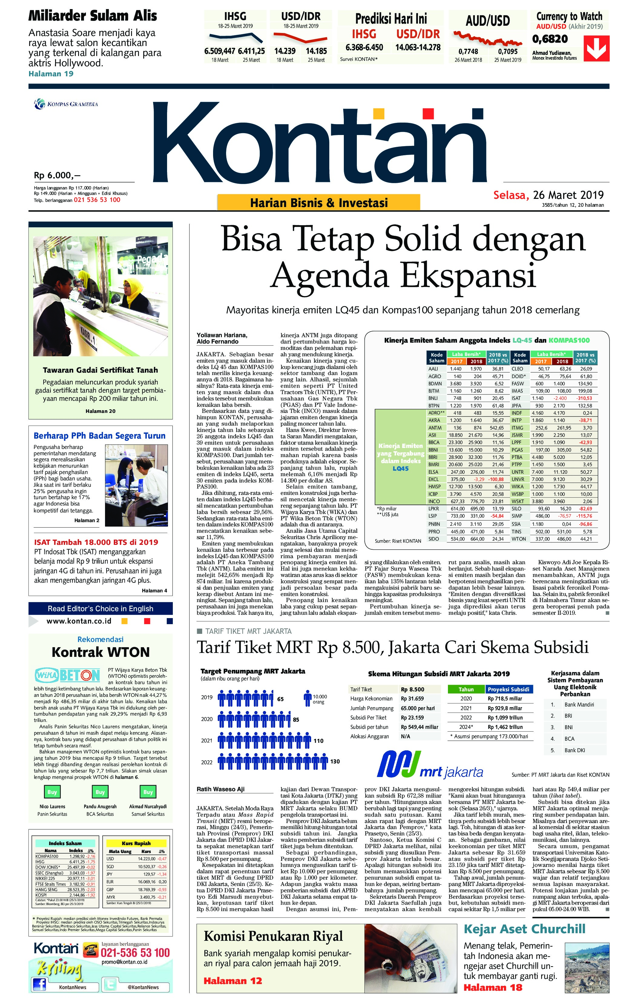 Koran Kontan Newspaper 26 March 2019 - Gramedia Digital