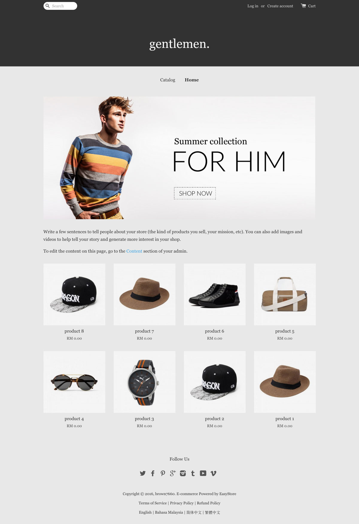 EasyStore theme | Gents