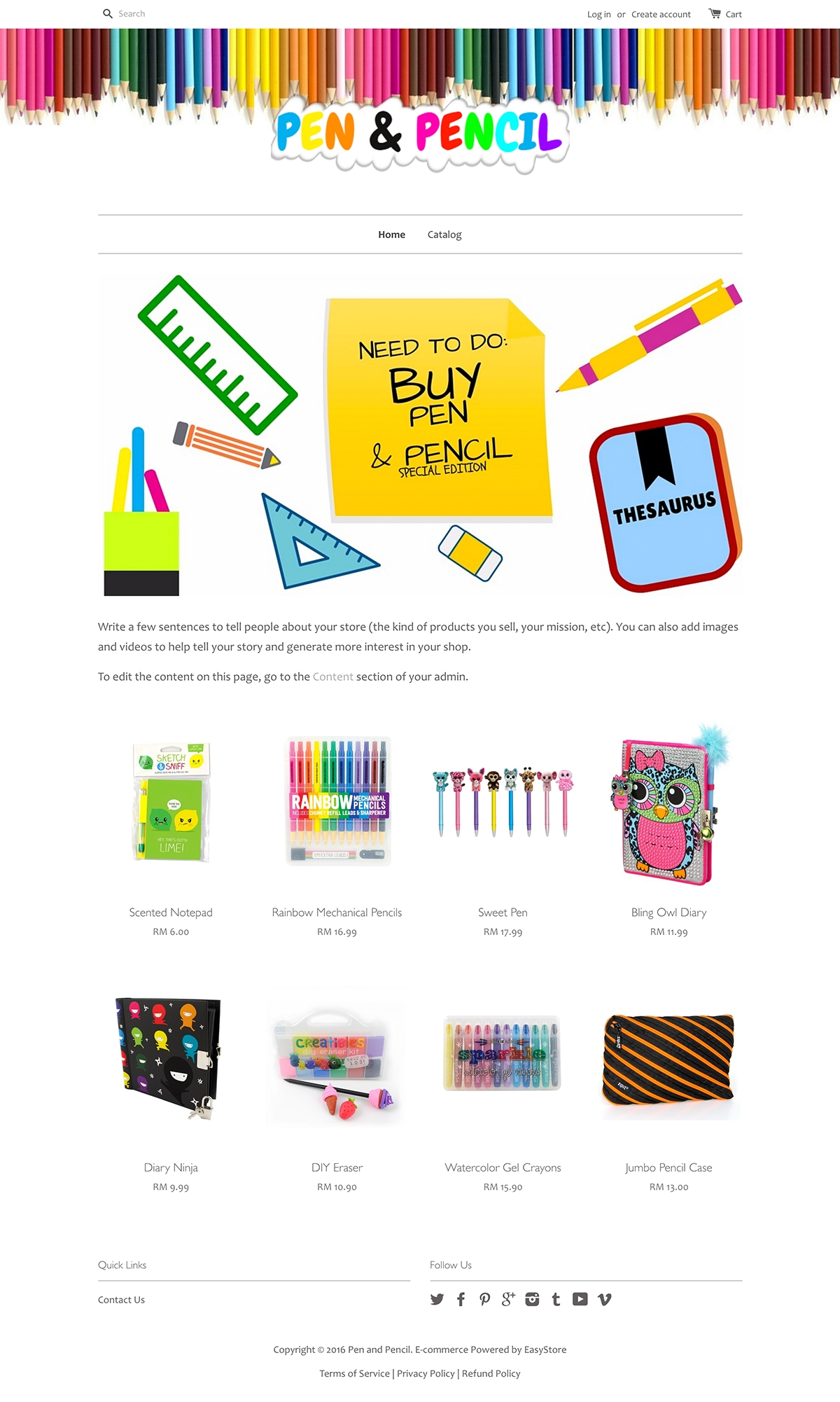 EasyStore theme | Pen and Pencil