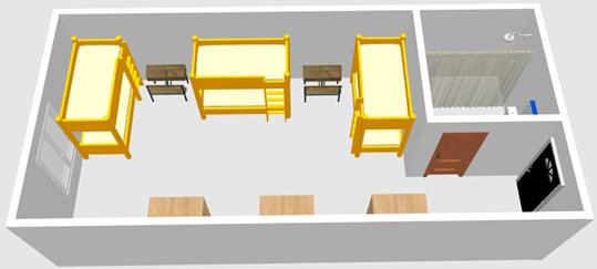 HELP語言學校-克拉克校區-6人房宿舍3D示意圖2-菲律賓遊學