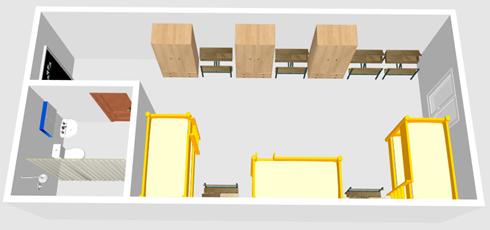 HELP語言學校-克拉克校區-6人房宿舍3D示意圖1-菲律賓遊學