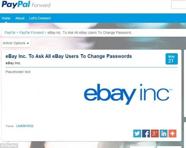 EBay asks users to change password after breach   SunOnline