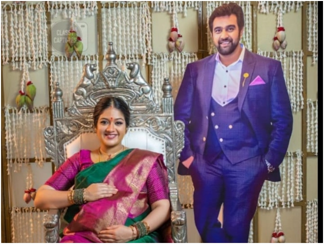 Meghana Raj celebrates her baby shower with late husband Chiranjeevi Sarja's  cutout by her side