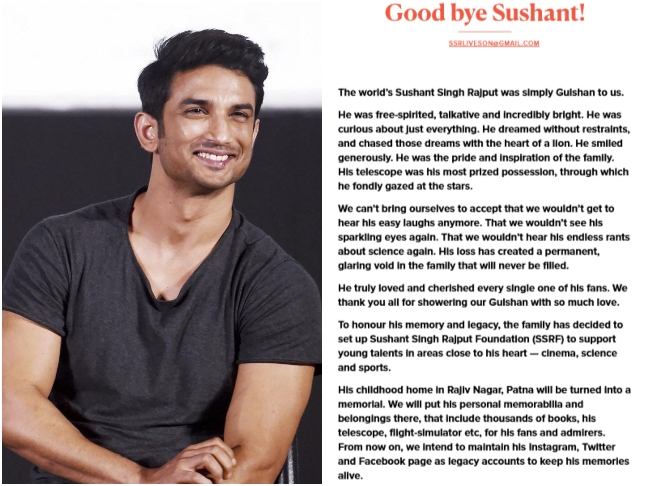 Sushant Singh Rajput's family releases an official statement after ...
