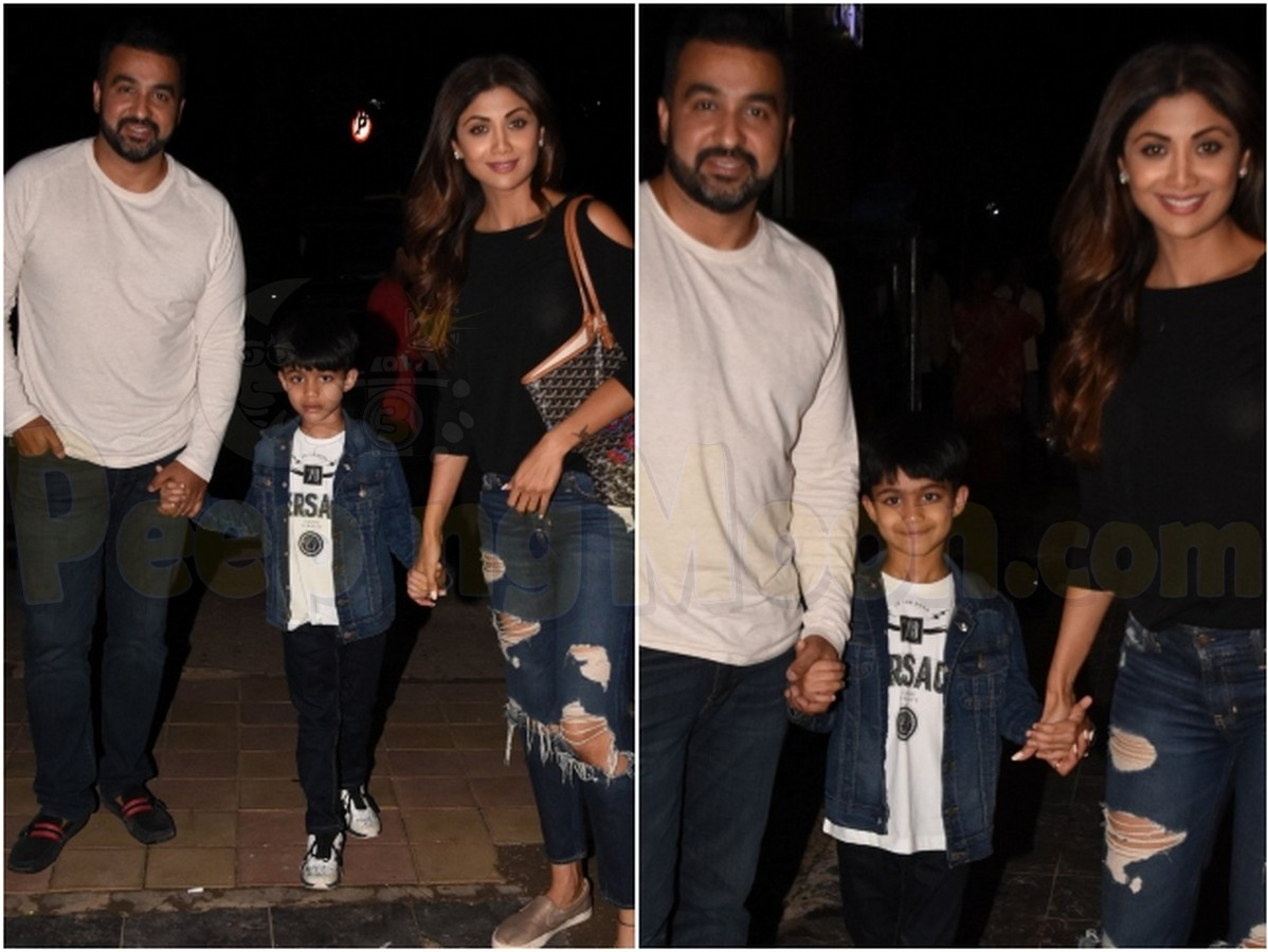 Shilpa Shetty Kundra heads out for a family dinner with Raj