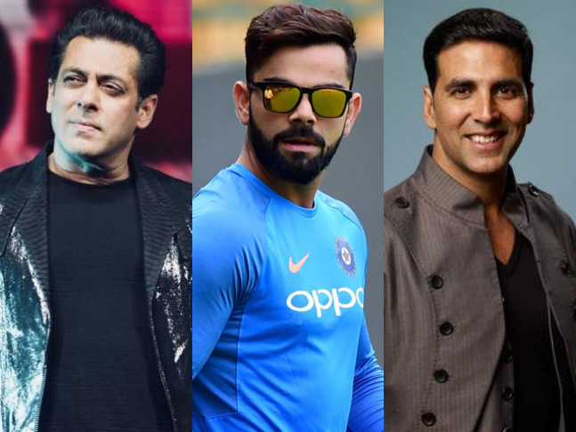 Salmanvirat Akshay Lead The Pack For 2018 Forbes India Celebrity