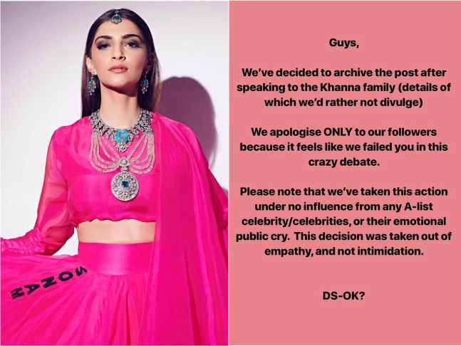 Amidst The Ak Ok Controversy With Sonam Rhea And Anamika Khanna Diet Sabya Takes Down His Post Shares The Real Reason