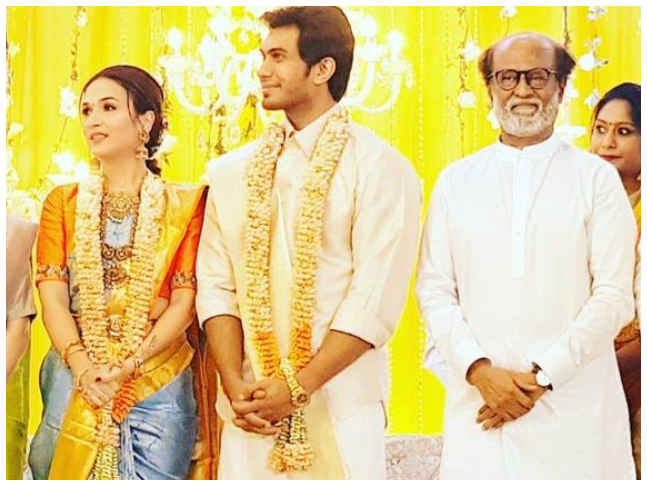 Rajinikanth Makes A Grand Entry With Soundarya At Her Wedding Reception