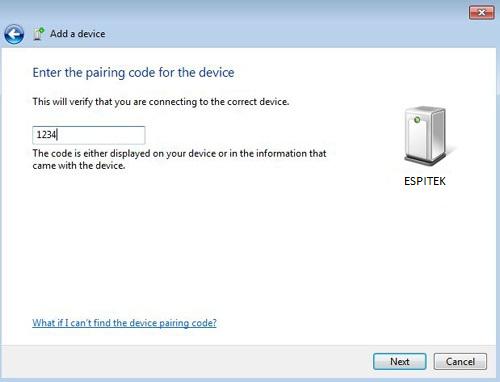 Nhập mật khẩu của HC05