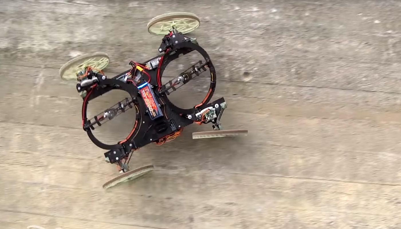 Robot leo tường dùng cơ cấu đẩy