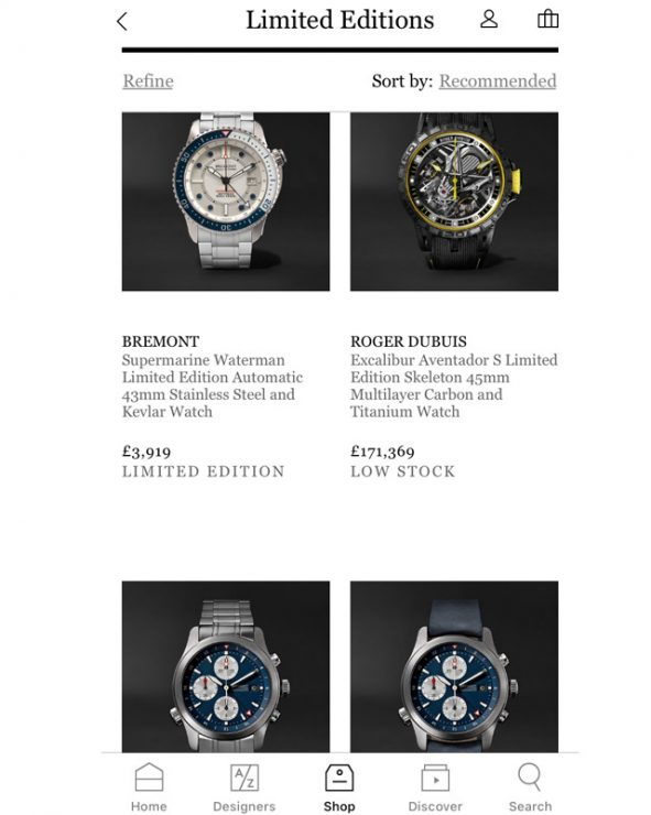 It's also important for luxury watchmakers to have a presence online, on retailers such as Mr Porter,