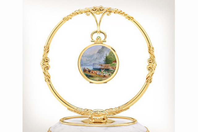 The Patek Philippe Königsee In Bavaria pocket watch reproduces the 1860 artwork by Austrian painter Friedrich Gauermann