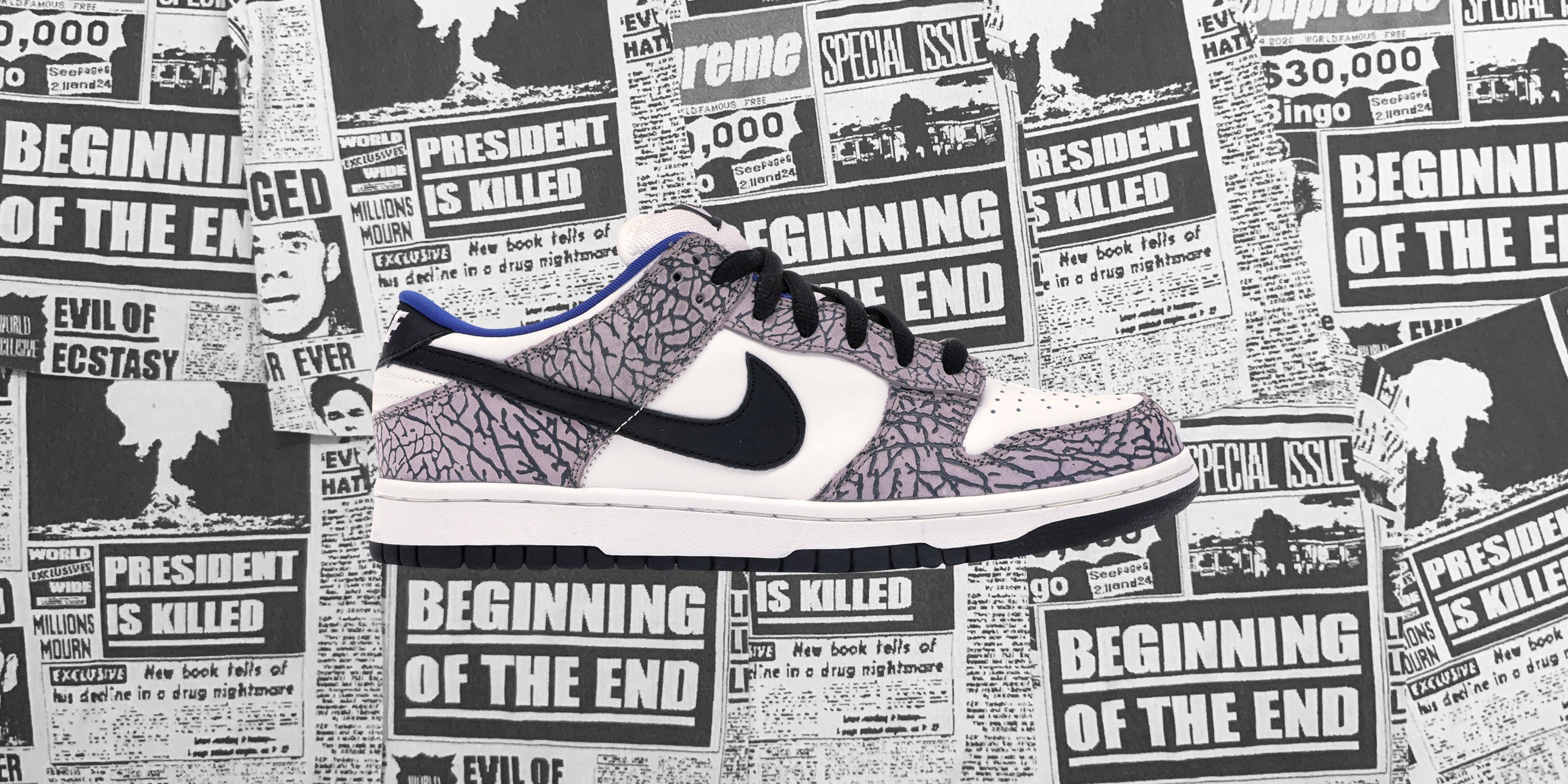 b08ca6855cb Cop the drop: Supreme x Nike Dunk Low SB White Cement sneaker