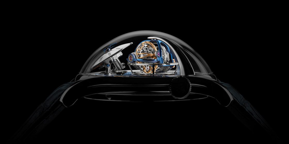 MB&F Legacy Machine Thunderdome is a spectacular whirlwind inside a giant sapphire dome