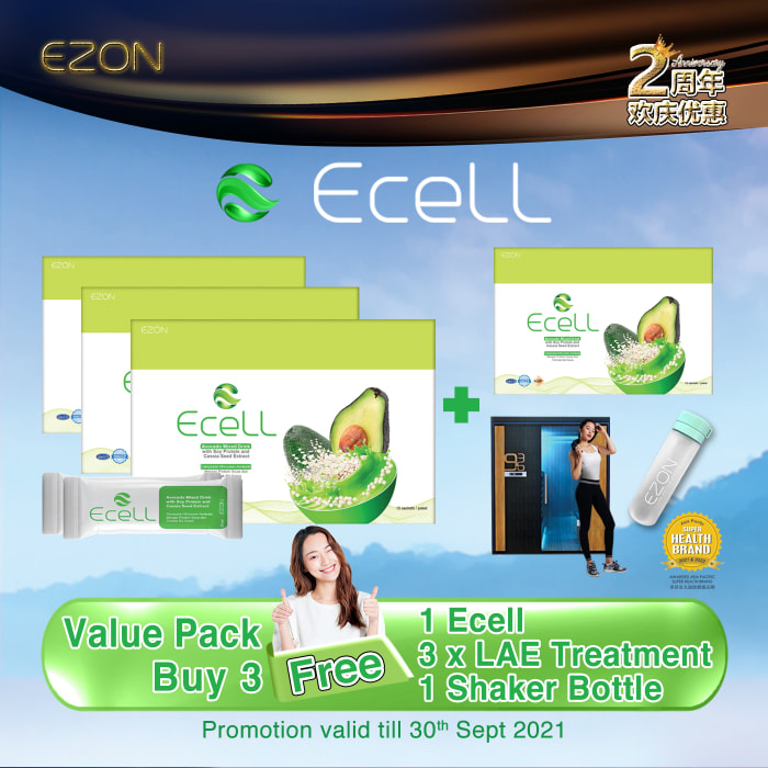 ECELL package  Buy 3 Free1  + FREE 3 Time LAE Treatment + FREE 1 Shaker Bottle