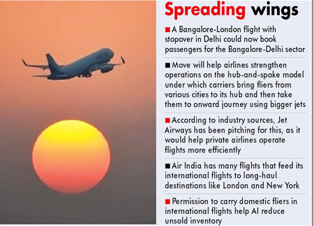 Pvt carriers may get to fly local fliers on int'l flights