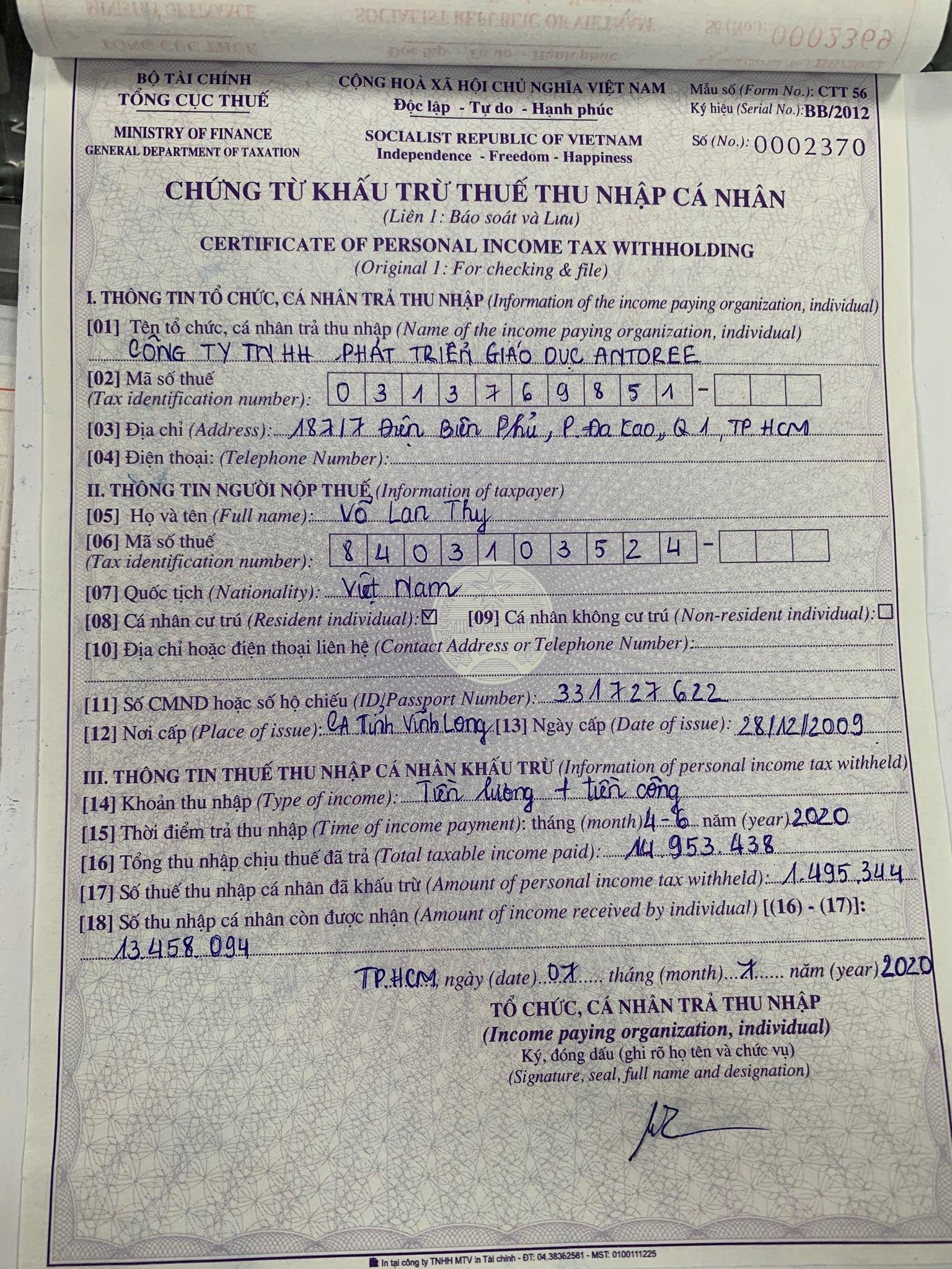 Biên bản khấu trừ thuế của nhân sự Võ Lan Thy