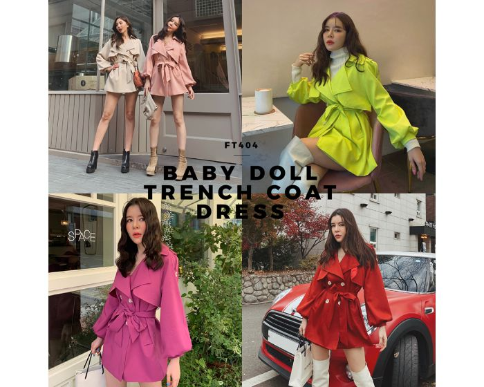 FT404 Baby Doll Trench Coat Dress