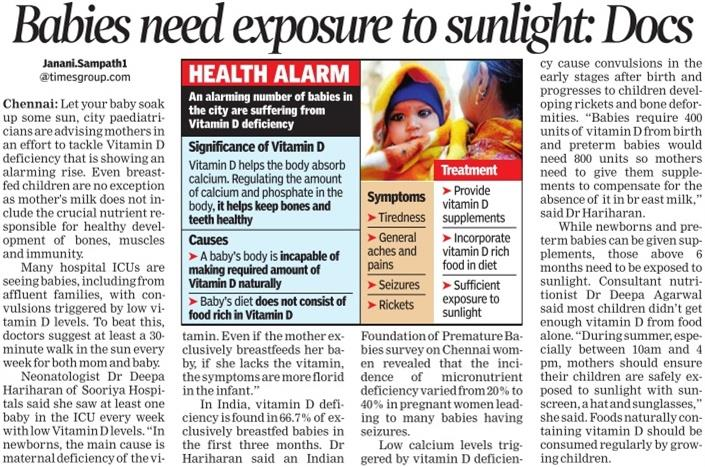Dr Deepa Agarwal Best Dietician and Nutritionist in Hyderabad says babies also needs exposure to sunlight daily - by Weight Loss Hyderabad, Hyderabad