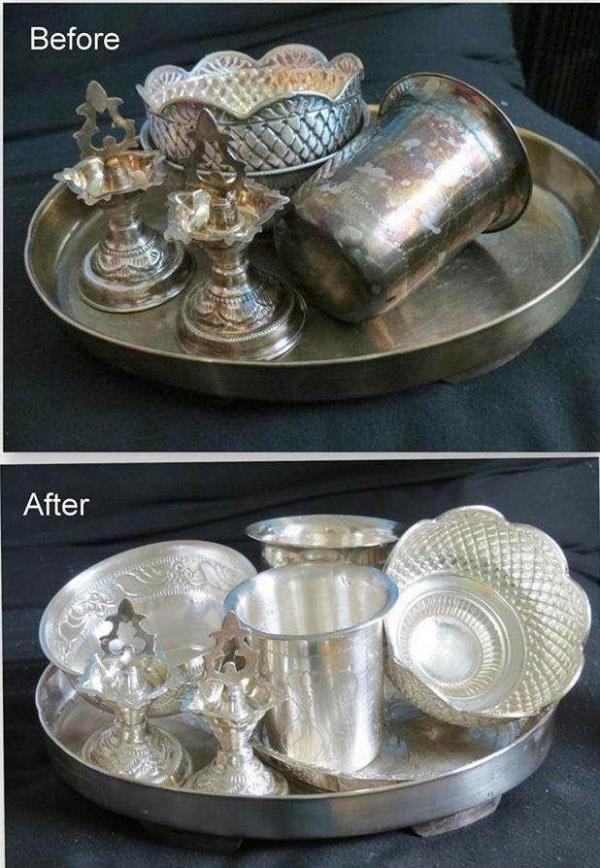 How to Clean Silver Vessels - Easy way with two ingredients... Things Needed for Cleaning : * Big Vessel to fit all the Silver items * Water * Cooking Soda / Baking Soda - 4 Table Spoons  * Aluminium Foil - 2 sheets (The quantity of Cooking - by Lalitha Jewellery Mart, Mysore