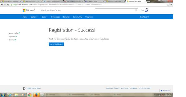 Successful registration account in window store:- - by VIVEK ANAND   (YASH RAJ), Salem
