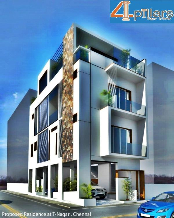 One Of Our Residential Building Constructions With Elevation Designs in T-Nagar Chennai - by 4 Pillars Constructions & Designs, Chennai