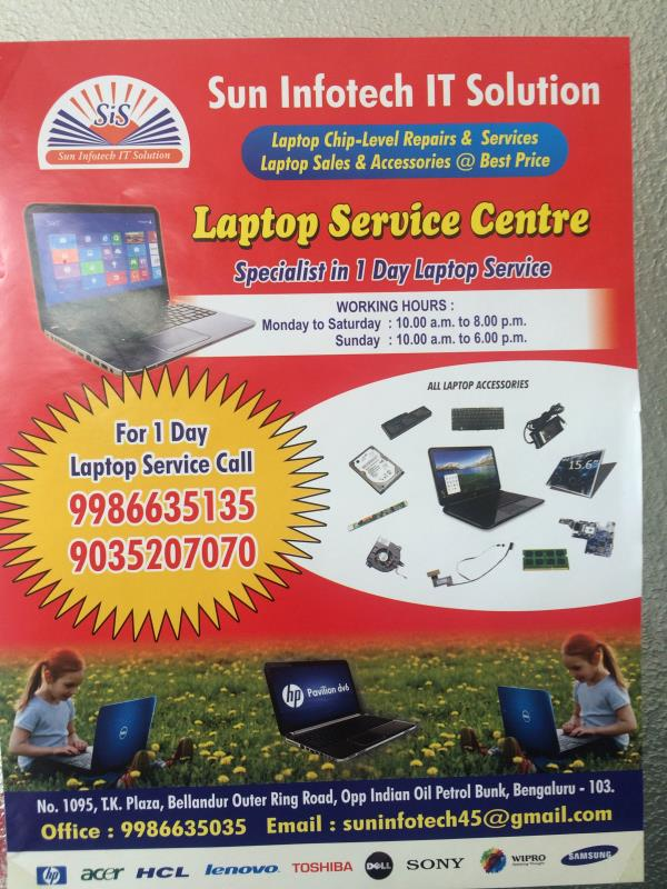 Laptop device center in Bellandur  - by Sun Infotech It Solution, Bangalore
