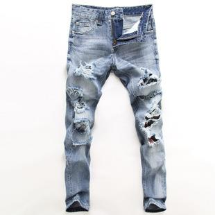 2015 new arrival rock style light blue jeans with hole men hip hop ripped destroyed classic  - by Shiva Fashion hut #+91-9716777098, South West Delhi