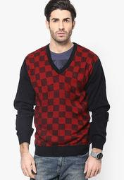 Raymond Red V Neck Sweater (Contemporary Fit) in Raymond shop Aurangabad - by The Raymond Shop(Shivams), Aurangabad