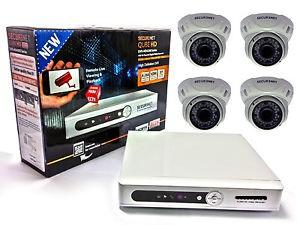 Set Of 4 Cctv Cameras With Recording & Mobile View DVR