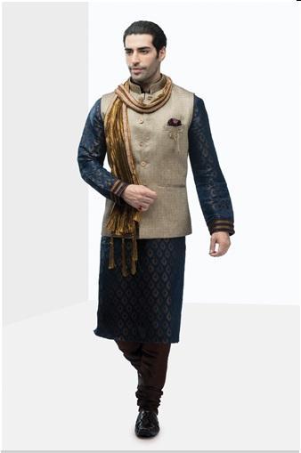 Manyavar Royal Blue Designer Kurta-Blue