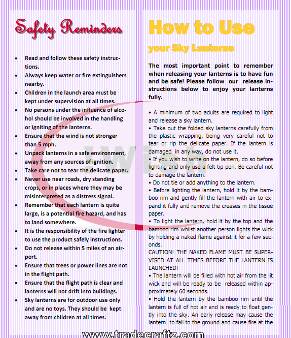 How to use Wish Sky Lanterns Safety Reminders
