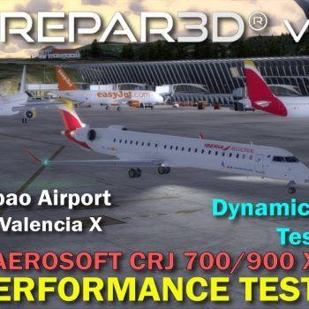 P3D V4 Aerosoft CRJ 700900 X ORBX Bilbao Airport Simware Valencia X Performance Test