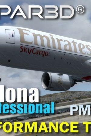 P3D V4.1 PMDG 777F AerosoftSimWings Mega Airport Barcelona Professional Performance Test