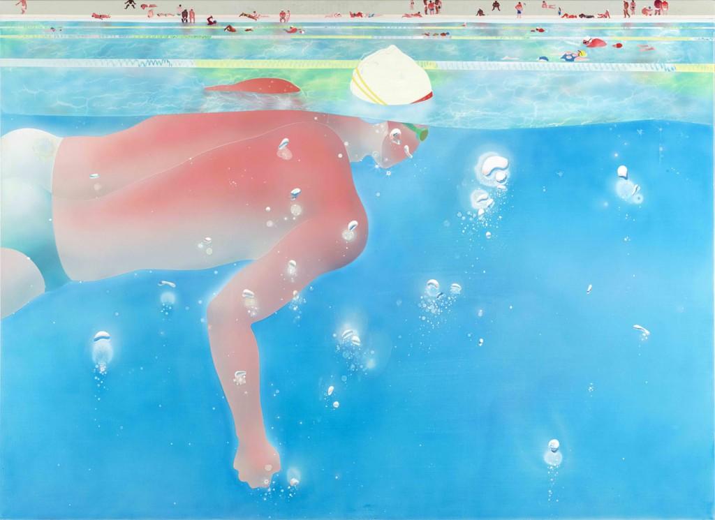 范揚宗Yang-Tsung FAN_泳池系列-漂浮2_130x180 cm_壓克力、畫布Acrylic on Canvas_2015