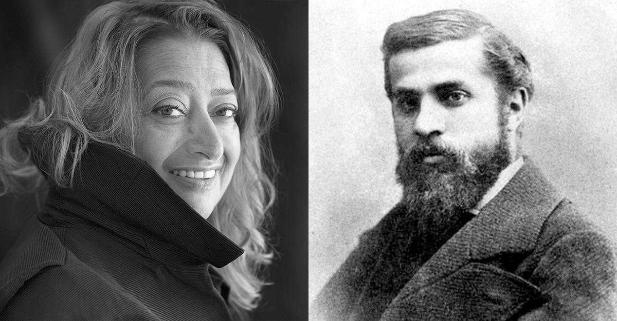 「上帝的建築師」安東尼.高第(右)與「曲線女王」札哈‧哈蒂(左)。圖/ wikipedia。