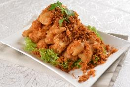 A03 肉松脆茄子 Fried Egg Plant with Chicken Floss (Serving)