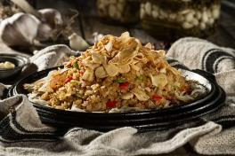 Garlic Sizzling Rice (spicy, contains pork)