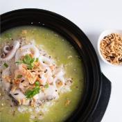 Seafood Porridge with Chef Special Green Sauce 养生藜麦海鲜粥