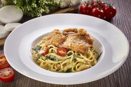 Fried Chicken Chop with Salted Egg Spaghetti
