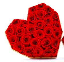 Preserved Red Rose Gray Heart Box Big